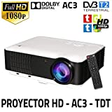 Proyector Unicview HD200, Video Proyector 1080P Full HD, con TDT, USB, HDMI, VGA, AC3, Sintonizador...